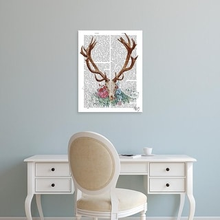 Easy Art Prints Fab Funky's 'Deer Skull With Flowers 1' Premium Canvas Art