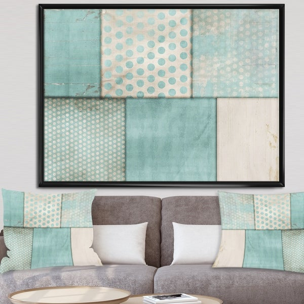 Designart 'Teal Print Collage' Mid-Century Modern Gallery-wrapped Framed Canvas. Opens flyout.
