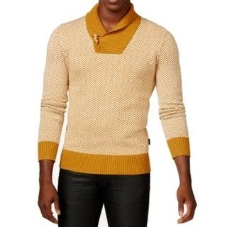 Sean John NEW Beige Mens Size 3XL Herringbone Shawl Collar Sweater