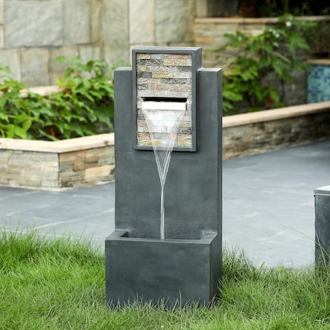 """32"""" Contemporary Finish with Rock Texture Fountain and Led Light"""