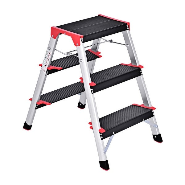 Shop Costway 3 Step Aluminum Lightweight Ladder Folding