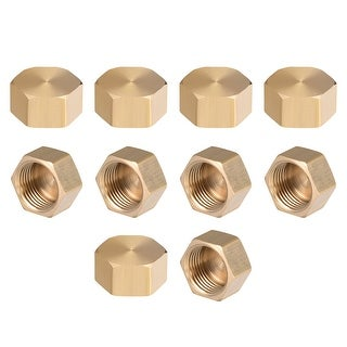 """Brass Cap, Hex Pipe Fitting 3/8""""G Female Pipe Connector 10pcs - 3/8"""" G 10pcs"""