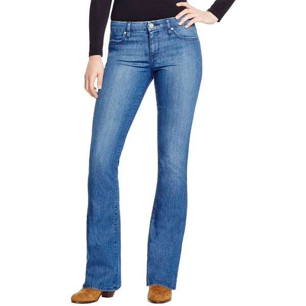 Sanctuary Womens Alexa Flare Jeans Mid-Rise Medium Wash