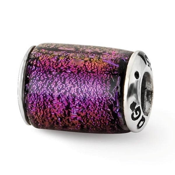 Sterling Silver Reflections Purple Dichroic Glass Barrel Bead (4mm Diameter Hole)