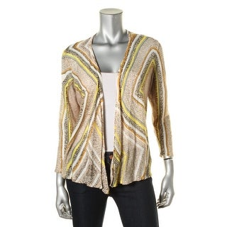 Nic + Zoe Womens Open Front 3/4 Sleeve Cardigan Sweater