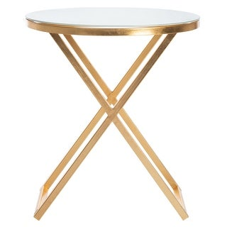 """Link to SAFAVIEH Treasures Riona Gold/ White Top Accent Table - 20"""" x 20"""" x 22.9"""" Similar Items in Living Room Furniture"""