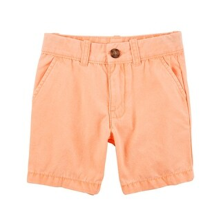 Carter's Boys' Flat Front Canvas Shorts- Orange- 12 Months