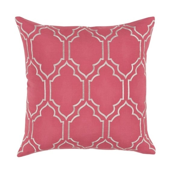 """18"""" Trellis Royalty Fiery Pink Rose and Gainsboro Gray Decorative Throw Pillow"""