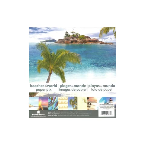 Pp-0019e paper house paper pad 12 beaches of the world