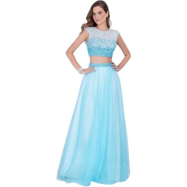 Terani Couture Pearl Prom Crop Top Dress