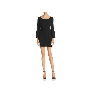 French Connection Womens Whisper Ruth Mini Dress Bell Sleeve Scoop Neck