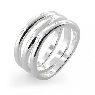 Bling Jewelry Florence Modern Wave Three Row Sterling Silver Ring