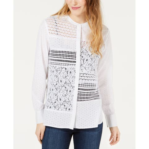 French Connection Women Top White Size 4 Button Down Celeste Lace Woven