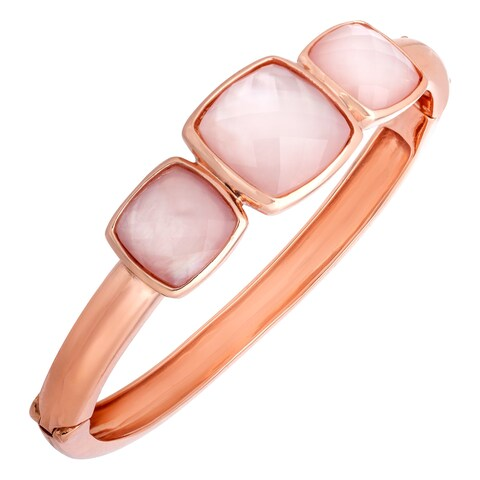 17 ct Pink Quartz Bangle in 18K Rose Gold-Plated Bronze