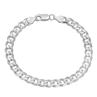 Mcs Jewelry Inc Sterling Silver 925 White Curb Bracelet 7.9mm (8.5 Inches)