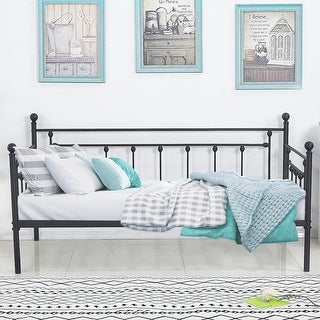 VECELO Twin Size Metal Daybed Frames and Trundle Frames For Kids (Sold Separate)