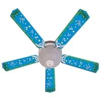 Blue Fireflies Print Blades 52in Ceiling Fan Light Kit - Multi