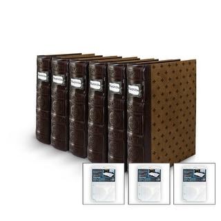 Bellagio-Italia DVD/CD Storage Tuscany Chestnut Binder 6-Pack with 3 Insert Sheets