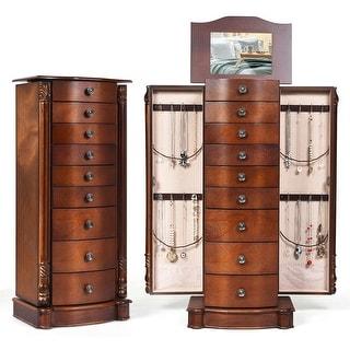 Costway Wood Jewelry Cabinet Storage Chest Stand Organizer Necklace
