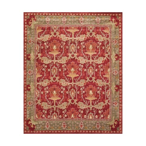 8x10 Hand Tufted Hand Made 100% Wool William Morris Arts & Crafts Oriental Area Rug Rusty Red,Sage Color