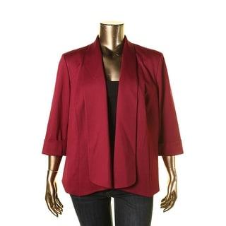 Kasper Womens Plus Cuffed 3/4 Sleeves Open-Front Blazer