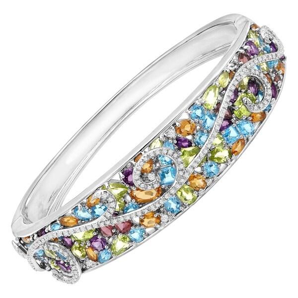 13 ct Natural Multi Semi-Precious Stone & 3/8 ct Diamond Swirl Bangle in Sterling Silver