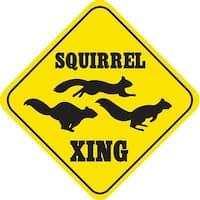 Crossing Squirrel Funny Yellow Aluminum Caution Sign