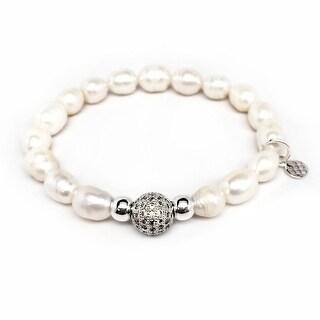 Freshwater Pearl 'Radiance' stretch bracelet 14k Over Sterling Silver