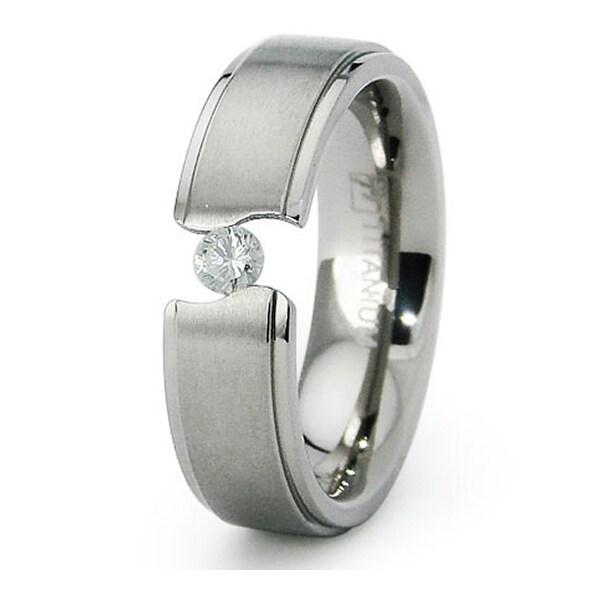 6mm Tension Set CZ Titanium Ring (Sizes 6-8)