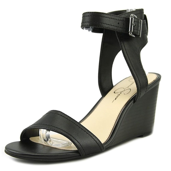 Jessica Simpson Cristabel Women Open Toe Leather Black Wedge Sandal
