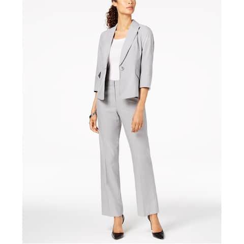 Le Suit Womens One Button Pin Striped Pant Suit, Grey, 2P