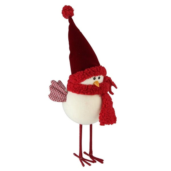 "12"" Retro Christmas Standing White Bird with Red Scarf and Hat Christmas Tabletop Decoration"