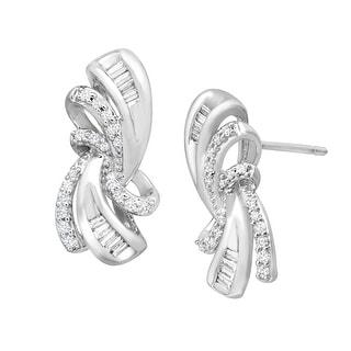 1/4 ct Diamond Scroll Earrings in 14K White Gold