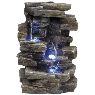"Alpine WIN220 Waterfall Tabletop Fountain With Led Lights, 9"" x 7"" x 14"""