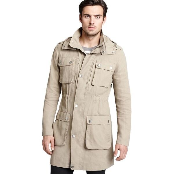 19d7d1a0e8f7 Shop MICHAEL KORS MK Coated Linen Anorak Jacket Small S Khaki Hooded ...