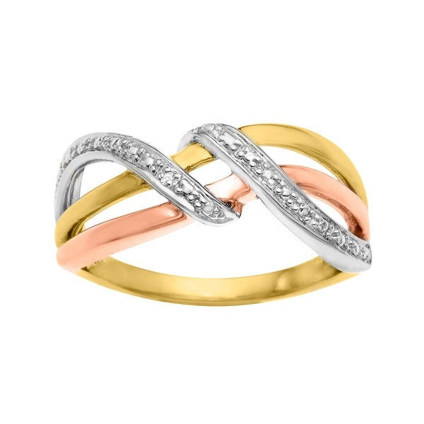 Three Band Ring with Diamond Accents in 18K Rose and Yellow Gold-Plated Sterling Silver