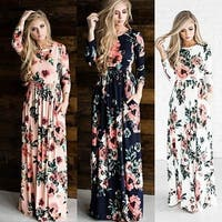 Women's Fashion Spring 3/4 Sleeve Classic Rose Maxi Dresses