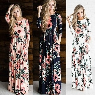 Women's Fashion Spring 3/4 Sleeve Classic Rose Maxi Dresses (4 options available)