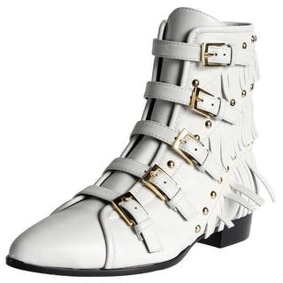 Giuseppe Zanotti Womens Guns Leather Fringe Ankle Boots - 37.5