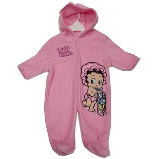 Nickelodeon Baby Girls Pink Baby Boop Hooded Zipper Coverall 3-9M