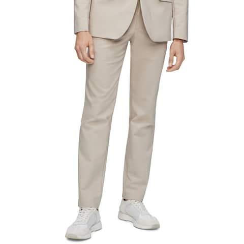 Calvin Klein Mens Pants Beige Size 38X30 Non Wrinkle Slim Chino Stretch