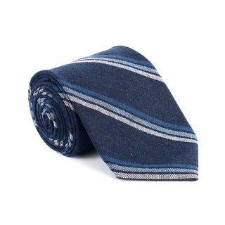 Tom Ford Mens Blue Tricolor Stripe Pure Silk 3 Inch Classic Tie