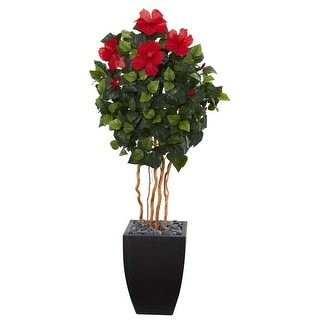 Nearly Natural 4.5' Hibiscus Artificial Tree in Black Washed Planter