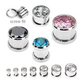 Surgical Steel Screw Fit Tunnels with Press Fit Gem (Sold Individually)