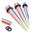 Rainbow Striped Solid Acrylic Taper with O-Ring (Sold Individually) - Thumbnail 0