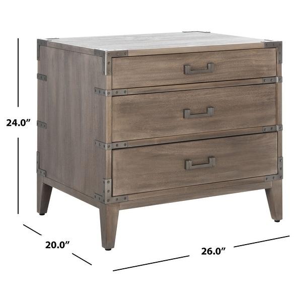 SAFAVIEH Couture Nisha 3-Drawer Wood Nightstand