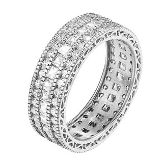 .925 Sterling Silver Eternity Band Princess Cut Wedding Engagement Ring CZ Women