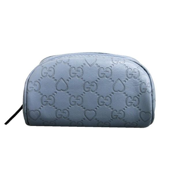 b817eb17e2c Gucci Women  x27 s Blue Guccissima Leather Heart Makeup Cosmetic Bag 277652  4704 -