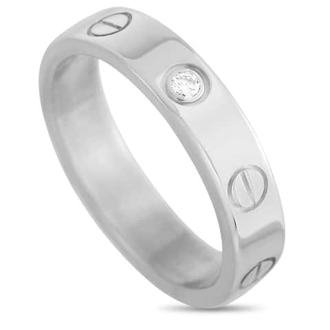 Cartier LOVE White Gold 1 Diamond Band Ring Size 5.75