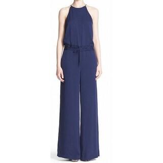 Diane von Furstenberg NEW Blue Womens Size 2 Drawstring-Waist Jumpsuit